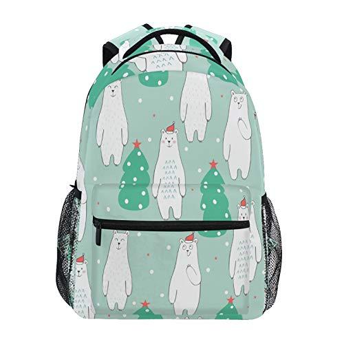 Ombra Backpack Cute Polar Bear Christmas Tree School Shoulder Bag Large Waterproof Durable Bookbag Laptop Daypack for Students Kids Teens Girls Boys Elementary