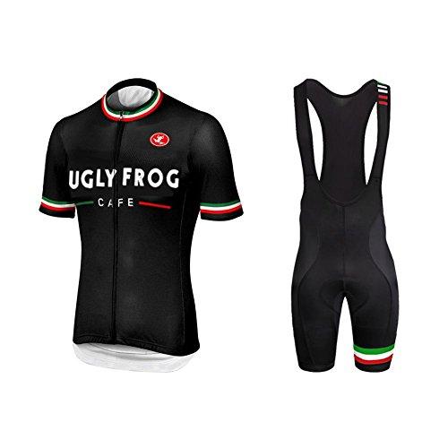 Uglyfrog+ Fahrradtrikot Herren Kurzarm Set für Sommer Bequem Schweiß Durchgehender Reißverschluss mit 3 Taschen XSNX06