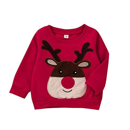 Langarmshirts Kleinkind Baby Jungen Mädchen Warmes Pulloveroberteil Weihnachten Cartoon Print Oberteile Pullover Sweatshirt, Rot, 12-18 Monate
