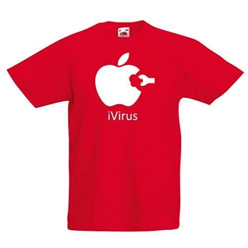 lepni.me Camisas para niños iVirus - Regalo Divertido del Amante de la Nueva tecnología (3-4 Years Rojo Blanco)