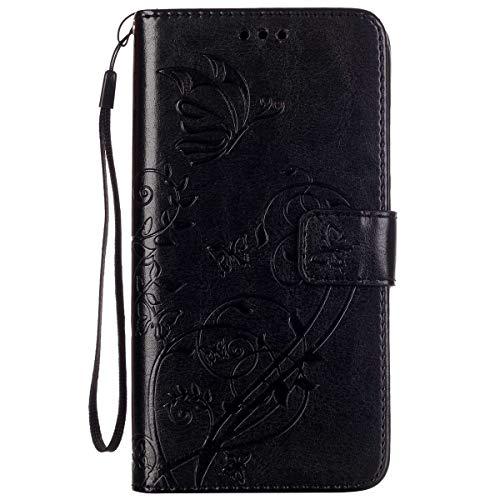 ISAKEN Huawei G8 Hülle, PU Leder Brieftasche Wallet Hülle Cover Ledertasche Handyhülle Tasche Schutzhülle mit Handschlaufe Standfunktion für Huawei G8 / Huawei GX8 - Blume Schmetterling Schwarz