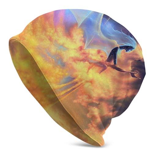 LAVYINGY Fantasy Fire Dragon Angel44 - Gorro de punto holgado para hombre y mujer