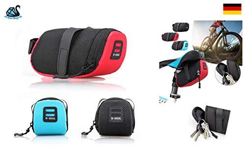 Eva Shop® Premium Satteltasche Ultra kompakte und leichte wasserdichte Fahrradtasche aus Nylon Oberrohrtasche Fahrrad Sattelstütze Rahmentasche Radtasche für MTB, Rennrad, Pedelec UVM. (Blau)