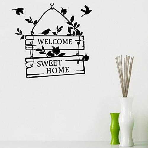 JXFM Welkome schattige muursticker vogel aanbieding deur en raam vinyl sticker kunst woonkamer afneembaar Home logo wand 57 x 60 cm