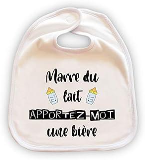 """Grand bavoir pour bébé personnalisé - Cadeau original -""""Marre du lait, apportez-moi une bière"""""""