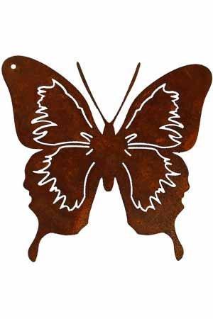 Rostikal | Rost Metalldeko Schmetterling | Gartenstecker Falter in Edelrost | 12 x 12 cm auf 40 cm Stab