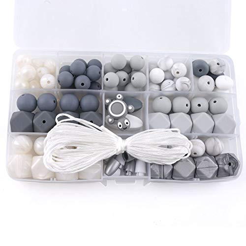 HAO JIE Baby Silicone Teether Beads BPA Free Food Grade Pacifier Clip Teething Beads Grey and White Series DIY Jewelry Chewable Nursing Necklace Accessories …