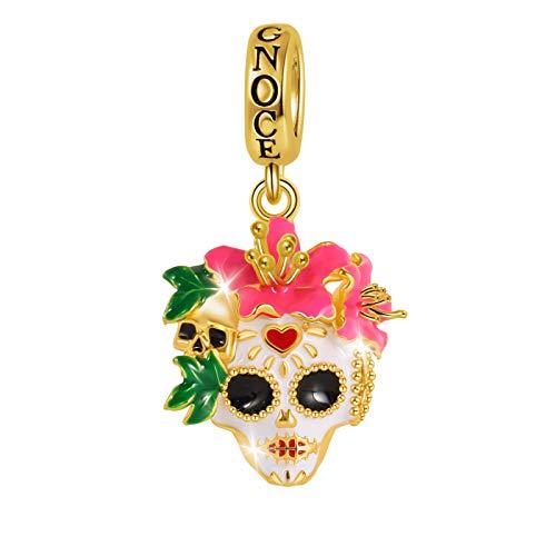 GNOCE メキシカンウーマン スカルチャームペンダント スターリングシルバー 18Kゴールドメッキ ハロウィン シュガー スカル ダングルチャーム ブレスレット/ネックレス 女性/女の子/妻/娘へのクリスマスプレゼントに