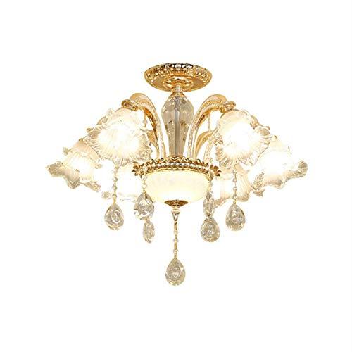 Plafond, Europese woonkamer verlichting, LED plafond kristallen lamp, huishoudelijke ornamenten luxe sfeer eenvoudig modern restaurant slaapkamer lamp 6 geen licht