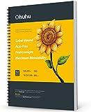 Cuaderno de dibujo artístico Ohuhu, 420×297 mm Tamaño cuadrado, fácil de transportar 200GSM Hojas de dibujo liso,48 hojas/ 96 páginas, encuadernado en espiral, para rotuladores a base de de alcohol