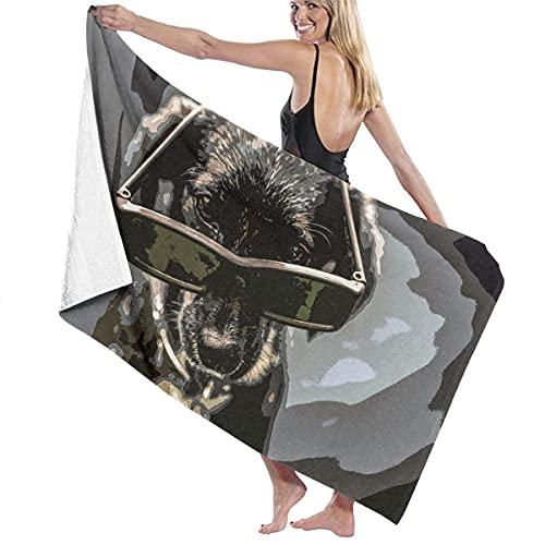 Lsjuee Toalla de piscina Cool Dog con gafas de sol Toalla de playa de secado rápido para adultos Piscina colorida y transpirable Ultra suave Hermosa playa Baño personalizado Toalla de baño unisex Toal
