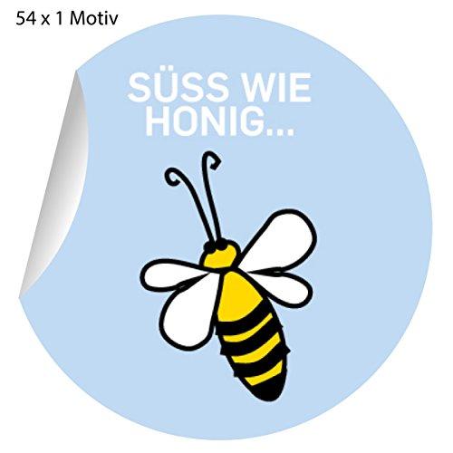 54 schattige bijenstickers voor zelfgemaakte, matte papieren stickers voor geschenken, etiketten voor tafeldecoratie, pakketten, brieven en meer (ø 30 mm; 1 motief): lief als honing 5 x 54 cm.