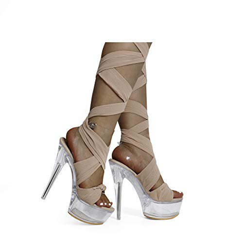 Lace Up Platform Heels for Women Clear Dangcing High Heels Stiletto Wrap Up Party Clubbing Strappy Heeled Sandals Nude Size 6
