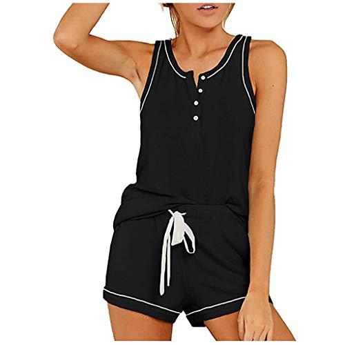 Janly Clearance Sale Conjunto de ropa de dormir para mujer, pantalones cortos con botones de teido anudado, ropa de dormir (S-2XL) , para verano (negro/L)
