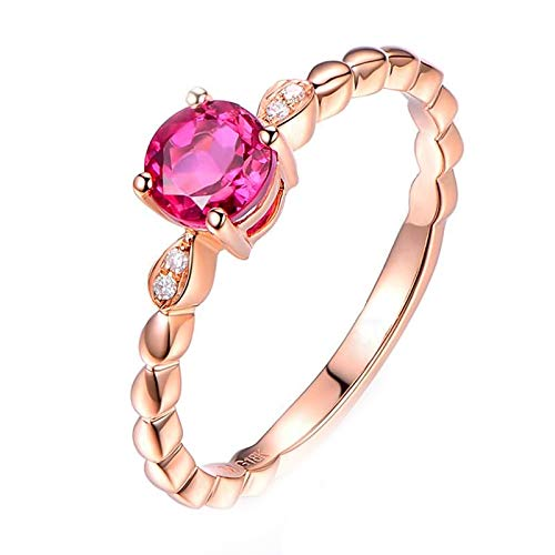 Cenliva Midi Rings for Women, 18K Gold 0.49ct Diamond Accented Tourmaline with Diamond VVS1-VVS2 Ring Size J 1/2