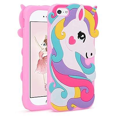 Liangxuer - Carcasa para iPhone SE/iPhone 5 5S 5C, silicona suave 3D con diseño de unicornio, color rosa