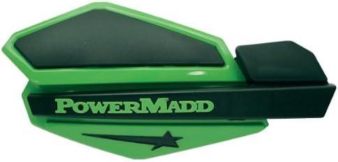 Black ATV Polaris Powermadd Star Series Handguards Guards Tri Mount Green