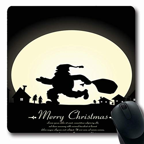 Jamron Mousepad OblongXmas Star Weihnachtsklaus Silhouette Feiertage Text Schlitten Rentier Jahr Baum Happy Eve Magic Schlitten rutschfeste Gummi Mauspad Büro Computer Laptop Spiele Mat