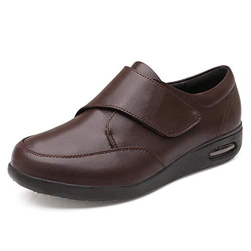 Zapatos de terapia de artritis edema,Hinchazón del pie del paciente en los zapatos de cuero, agregando fertilizante para ensanchar los zapatos para la diabetes-48_brown,Zapatos transpirables para dia