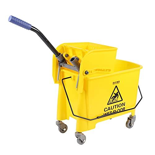 Fetcoi Carro de limpieza para la limpieza de suelos, carro de limpieza y juego de fregona, 20 L, hogar, hotel, centro comercial, empresas, restaurante, carro de limpieza amarillo