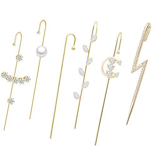 Fascigirl Escalador De Oreja De Diamantes De Imitación Piercing Brillante Envoltura De Oreja Oreja De Orugas Orejeras De Oruga para Mujeres Oreja