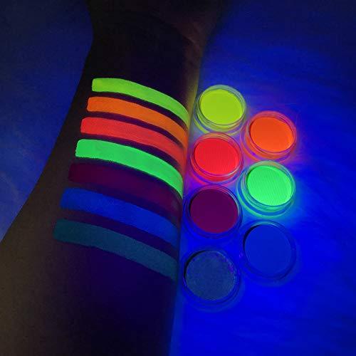 Water Activated UV Reactive Neon Cake Eyeliner, ONMAY 7 Rainbow Color Aqua Eye Liner UV Glow Blacklight Body Face Paint Makeup - Neon Bundle