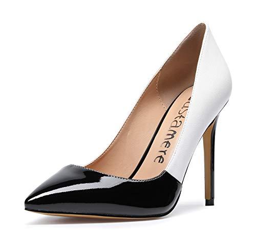 CASTAMERE Damen High Heels Spitzen Stiletto Pumps 10CM Mehrfarbig Schwarz Weiß Schuhe EU 35