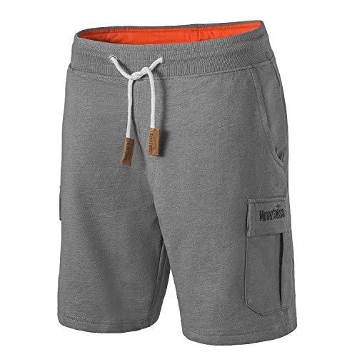 Mount Swiss Cargo Shorts Herren I Moderne Cotton Bermuda Shorts für Herren mit 6 Taschen & Klett- BZW. Reiß-Verschluss I Freizeit Cargo Hose Herren kurz in klassischen Farben Größe S - 6XL,Stahlgrau