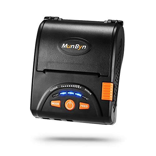 MUNBYN Mini Impresora de Recibo Térmica 58mm para Comida a Domicilio, Impresora Portátil de Ticket, Coneccíon Inalámbrica Bluetooth 4.0/ USB, ESC/POS Compatible con Android/Windows,