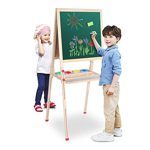3 in 1 Art Easel for Kids Wooden Double Magnetic Adjustable Sided with Chalk, Arts&Crafts, Blackboard Eraser for Drawing with Magnetic Letters, Adjustable Height 26-45In