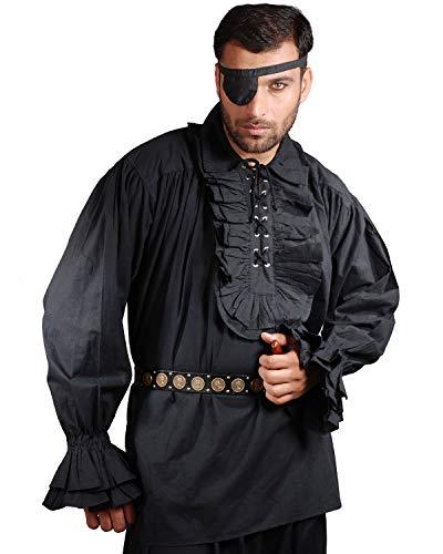Medieval Poet's Pirate Shirt Costume [Black] (X-Large)