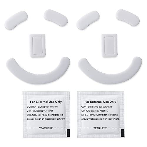 2 Sets White Rounded Curved Edges Mouse Feet Pads Skates Compatible for Razer Deathadder V2 PRo Gaming Mouse