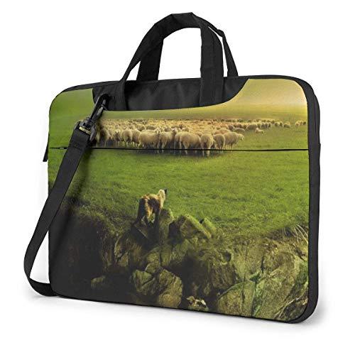 Laptop Case Computer Bag Sleeve Cover Dog Sheep Farm Waterproof Shoulder Briefcase
