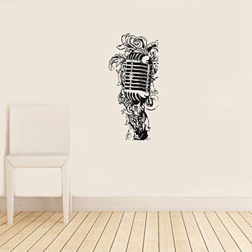 etiqueta de la pared decoración Micrófono floral de la música del cartel mural blanco negro para la etiqueta engomada del interruptor