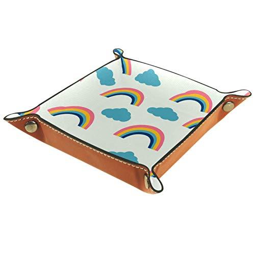 MUMIMI Plato cuadrado de cuero para mujeres y niñas, bandeja para joyas, diseño de nubes azules arcoíris colorido, regalo de cumpleaños para el día de la madre