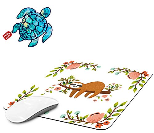 Mouse Pad with Brown Sloth Gaming Mouse Pads for Laptop Computers Non-Slip Rubber Base Mousepads for Office Home, Rectangle Cute Mouse Mats and Sea Turtles Stickers