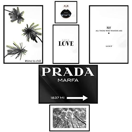 murando Set de 6 Affiches Tableaux Impression Artistique Poster Encadré Tableaux Murale Galerie Moderne Décoration Image Graphique Design Love Fashion Palmiers Chill Relax Lèvres Noir Blanc