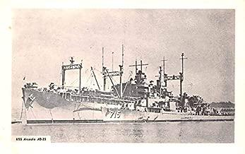 Military Battleship Postcard, Old Vintage Antique Military Ship Post Card USS Arcadia AD23 Unused