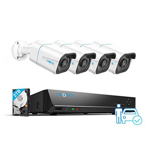 Reolink 4K PoE Sistema de Cámara de Seguridad Ultra HD, Detección de Personas y Vehículos, 4pcs 8MP Cámaras IP PoE Exterior y 8 Canales 2TB HDD NVR, Grabación Continua, Visión Nocturna, RLK8-810B4-A