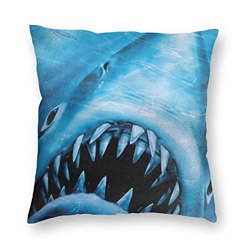 YHKC Jaws of Ocean Shark - Funda de Almohada Decorativa para el hogar, Ligera, Suave, de Felpa Cuadrada, Decorativa, Funda de cojín, Funda de cojín de 18 x 18 Pulgadas, embutidora, Lavable a máquina