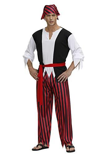 Pirate Costume Men Captain Jacket Plus Size Halloween Costumes Pirate Shirts Dress Up Red Medium