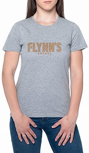 Flynns Arcade Gaming Mujeres Camiseta De Manga Corta Gris Cuello Redondo Women T-Shirt Grey Round Neck XXL