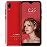 Blackview A60 Teléfono Móvil 2GB+16GB (128GB SD), Pantalla 6.1' (19.2:9) Water-Drop Screen Movil Barato, 13MP+2MP+5MP, 4080mAh Batería, Android 10 Smartphone Libre Dual SIM, GPS/WiFi/Hotspot-Rojo