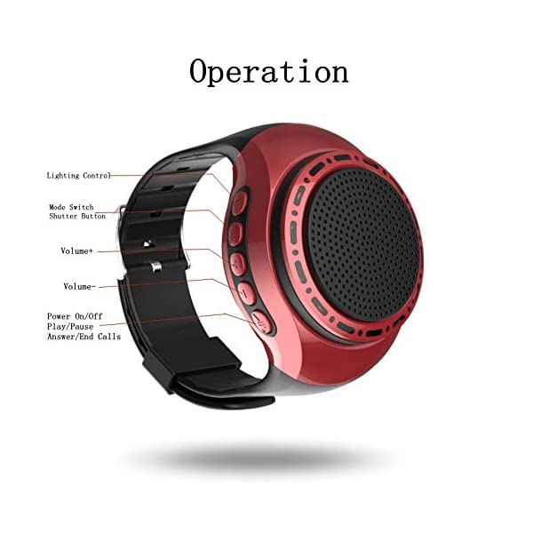 Wireless Bluetooth Watch Speaker Portable Wearable Mini Sport Stereo Subwoofer Speakers with Speakerphone, Multi Function MP3 Player & FM Radio&Anti-Lost&Ultra Long Standby Time for Any Smarter Phone 4