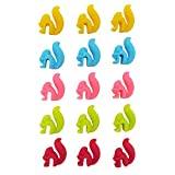DODOGA Tea Bag Holder for Cup Hanging Tool Cute Squirrel Cup Markers for Drinks Drink Marker Wine Marker Made of food-grade 100% BPA free Silicone for Hanging Tea Bags, candy colors, 15Pack