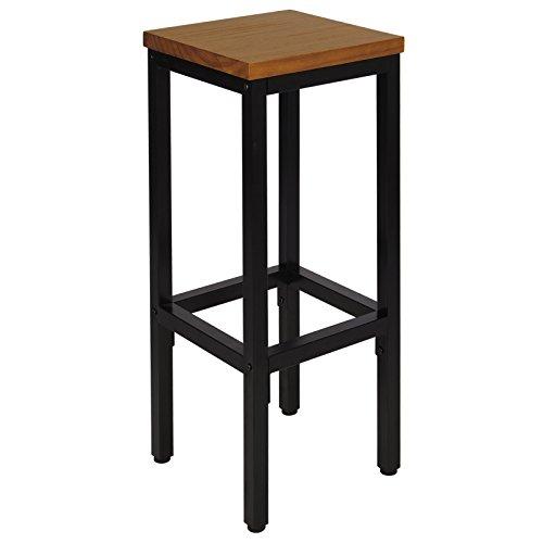 WOLTU BH86hei 1x Barhocker Bistrohocker Tresenhocker Barstuhl, Gestell aus stabilem Stahl, Stizfläche aus Massivholz, Eiche