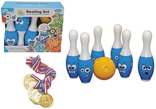 jameitop®⚾ Bowling Party Set ⚾ 6 PINS + Bowlingkugel + 8 Medaillen ⚾