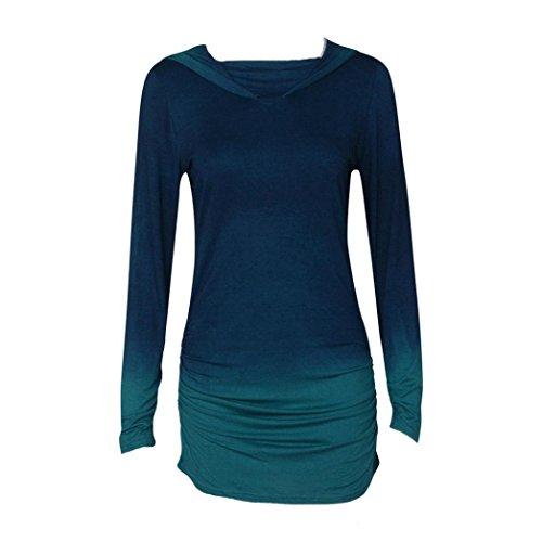 Amlaiworld Frauen Bluse, Frauen Hoodies Sweatshirts Casual Langarm mit Kapuze Farbverlauf Hemd Bluse (L, Blau)