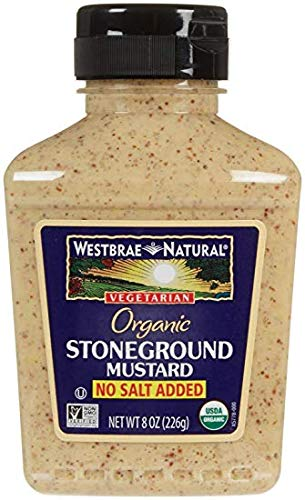 Westbrae Natural Stoneground Mustard No Salt Added 8 Oz (Pack of 3) - Pack Of 3