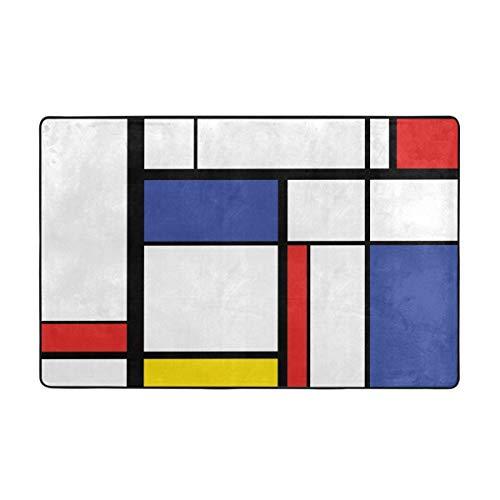 kThrones Badematte Teppich,abstrakte Moderne Malerei in Mondrian bunten Bauhaus geometrischen Badezimmerteppich 45cmx75cm